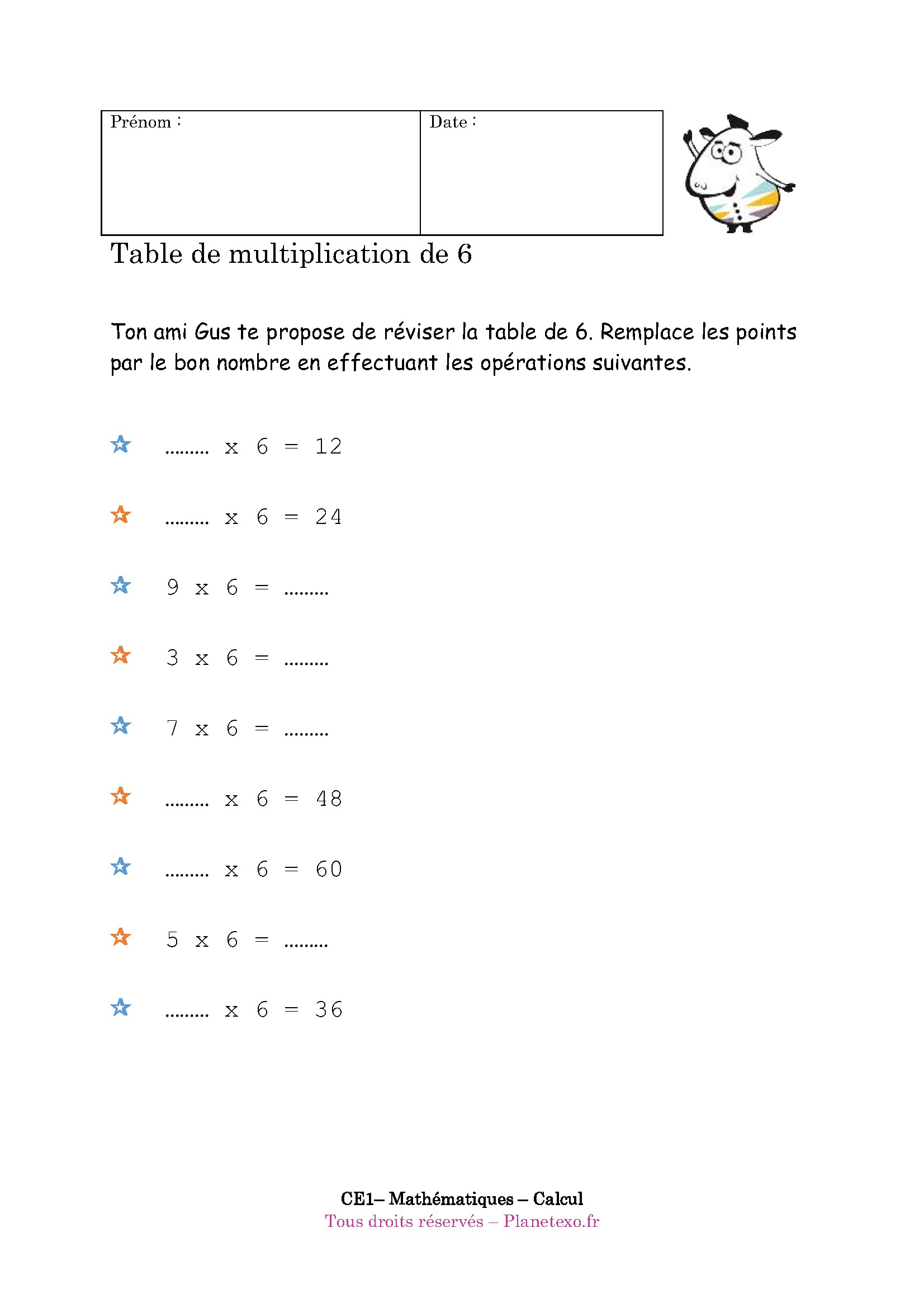 Exercice corrig pour le ce1 table de multiplication de 6 - La table de multiplication de 8 ...
