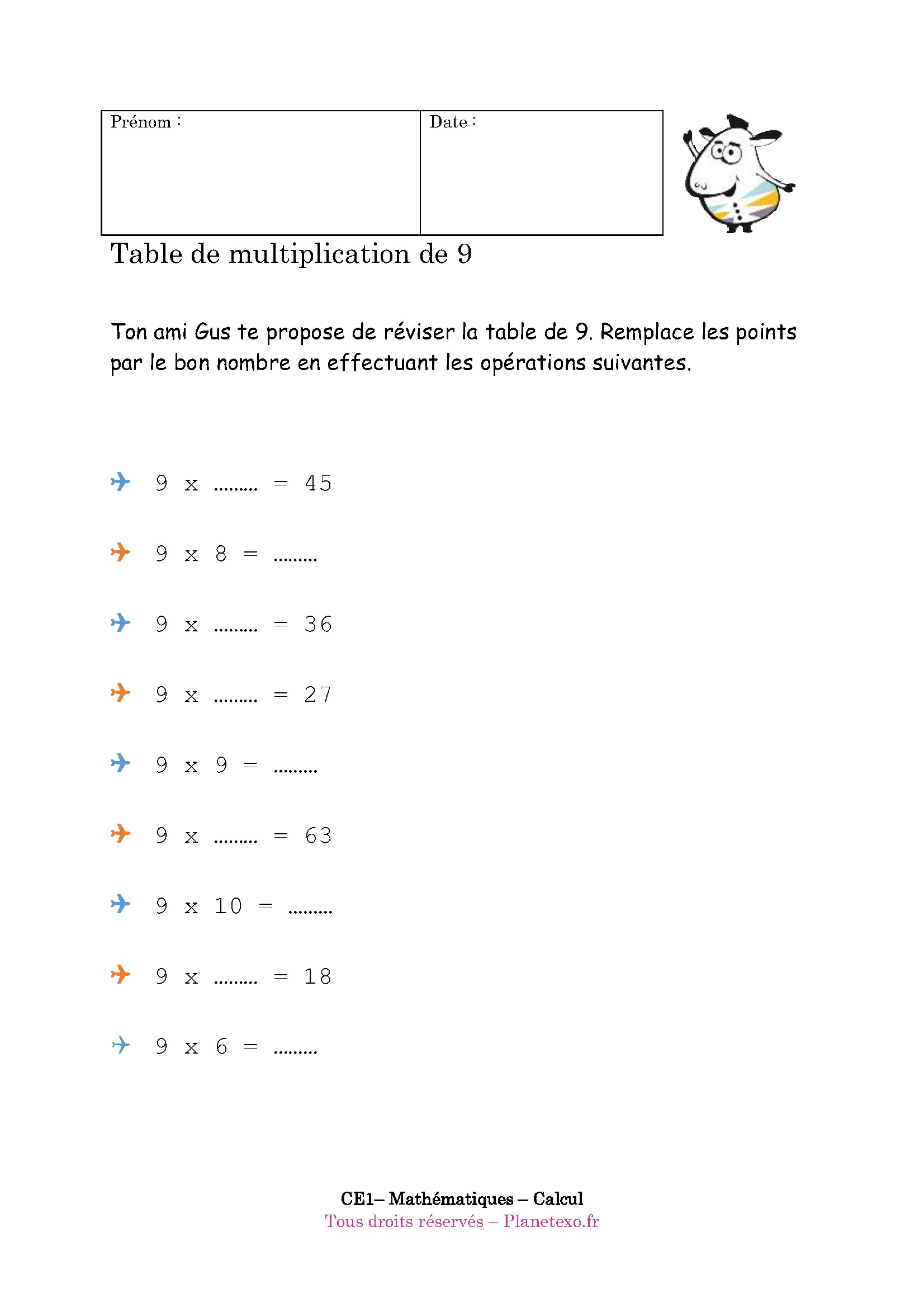 Exercice corrig pour le ce1 table de multiplication de 9 for Table multiplication de 9
