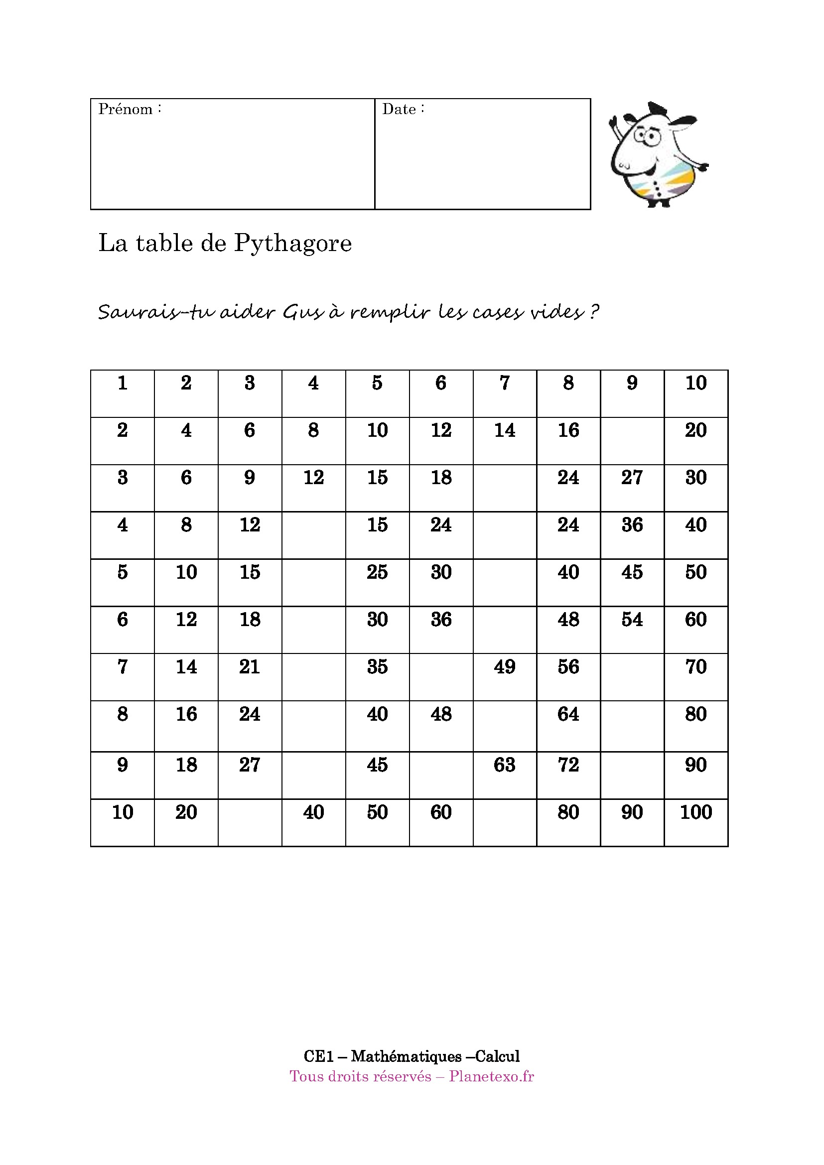 Exercice corrig pour le ce1 la table de pythagore for Table de calcul