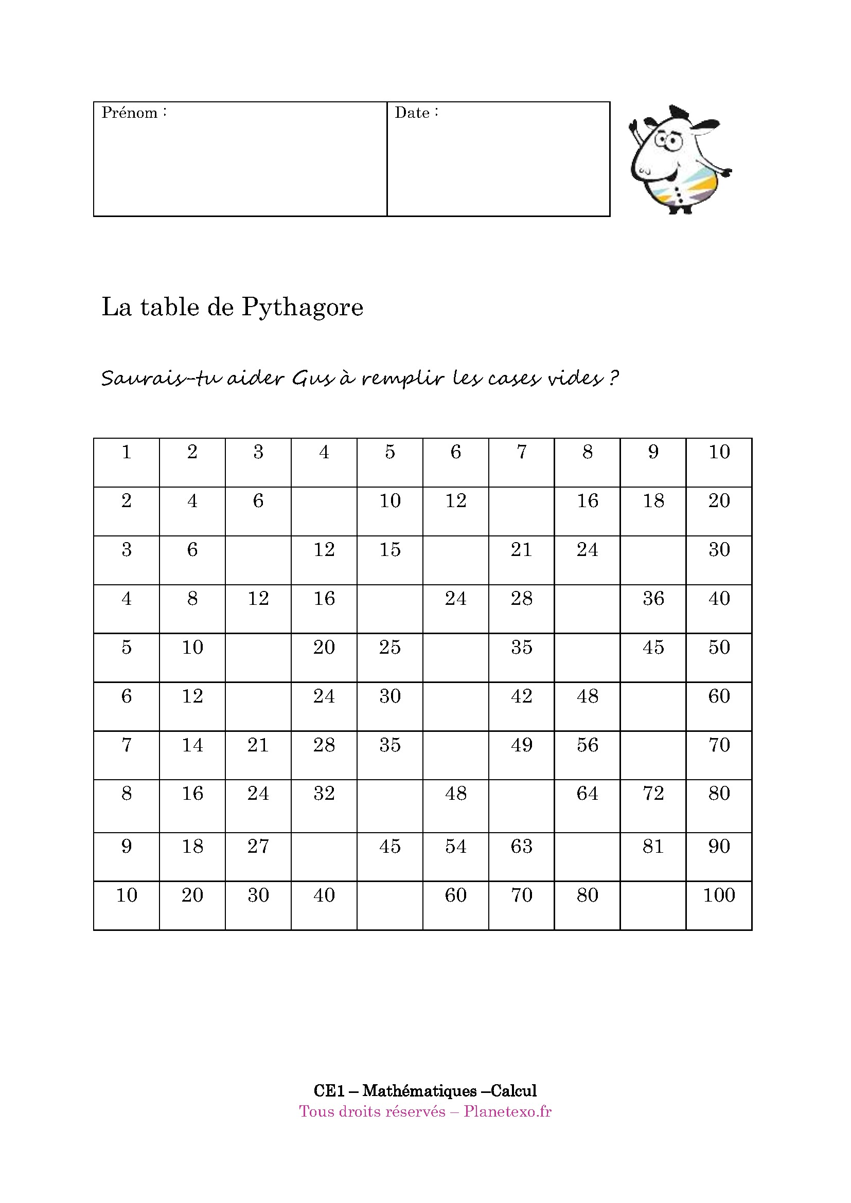 Exercices tables de multiplication exercices en ligne - Table de multiplication matou matheux ...