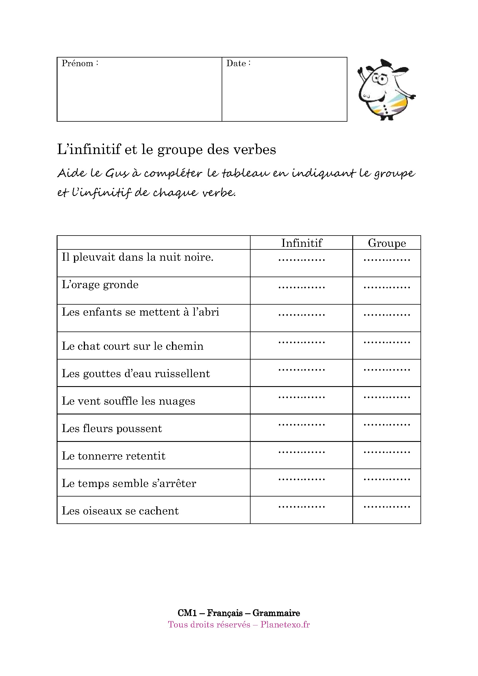 groupe, infinitif, verbe