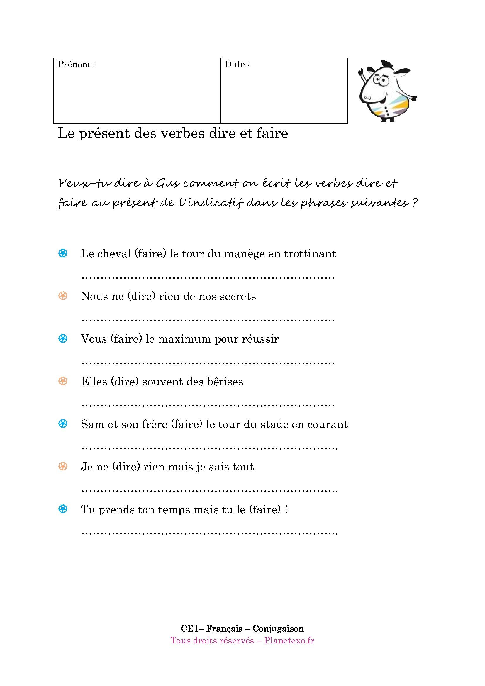Exercice Corrige Pour Le Ce1 Le Present Des Verbes Dire Et Faire