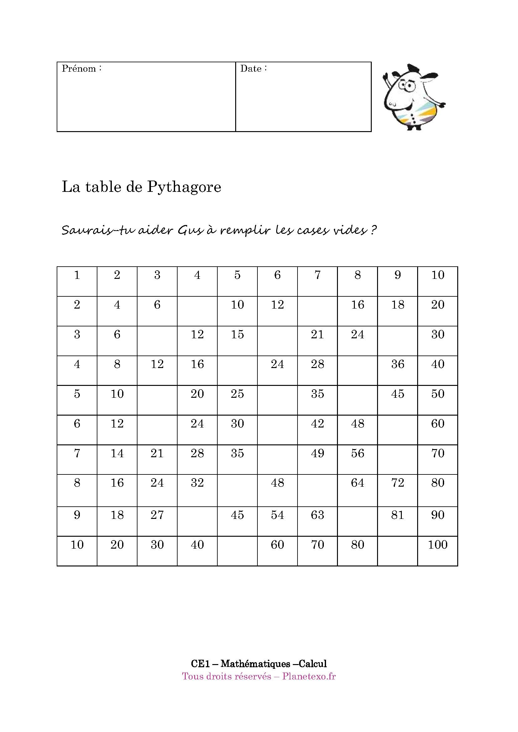 Exercice Corrige Pour Le Ce1 La Table De Pythagore